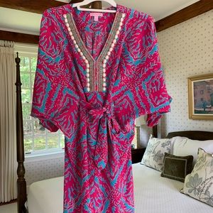 Lilly Pulitzer Semi-Fitted Caftan Beaded Dress